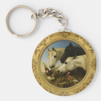 Masterpiece horse & dove painting John Herring Basic Round Button Keychain