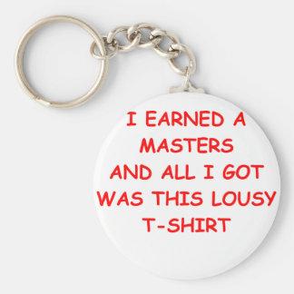 masters degree basic round button keychain