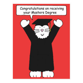 Masters Degree Congratulations, Cat lover. Postcard