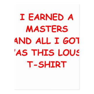 master's degree postcard