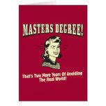 Masters: Evitar el mundo real Tarjeta