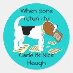 Masticación de Bookplate del beagle Pegatina Redonda