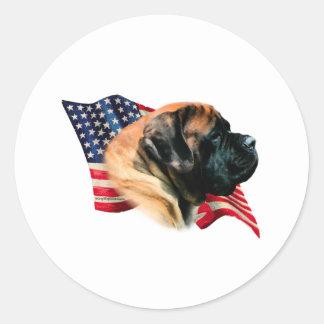 Mastiff (apricot) Flag Round Sticker