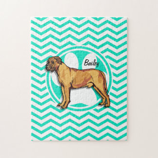 Mastiff; Aqua Green Chevron Puzzles