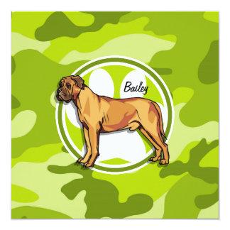 Mastiff; bright green camo, camouflage 5.25x5.25 square paper invitation card