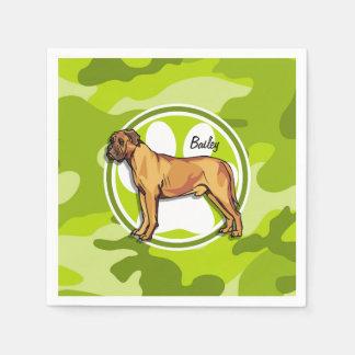 Mastiff; bright green camo, camouflage disposable napkin