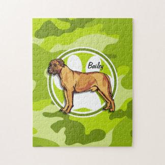 Mastiff; bright green camo, camouflage puzzles