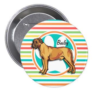 Mastiff; Bright Rainbow Stripes Pin