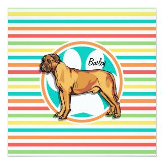 Mastiff; Bright Rainbow Stripes 5.25x5.25 Square Paper Invitation Card