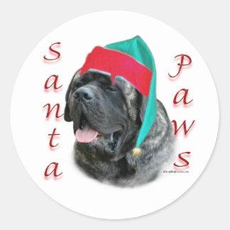Mastiff (brindle) Santa Paws Sticker