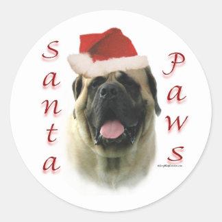 Mastiff (fawn) Santa Paws Round Stickers