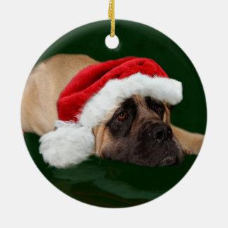 Mastiff in a Santa hat Ceramic Ornament