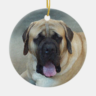 Mastiff Double-Sided Ceramic Round Christmas Ornament