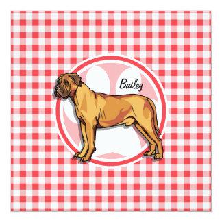 Mastiff; Red and White Gingham 5.25x5.25 Square Paper Invitation Card