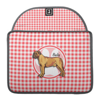 Mastiff; Red and White Gingham Sleeves For MacBook Pro