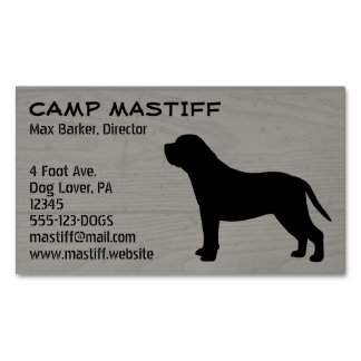 Mastiff Silhouette Wood Style Magnetic Business Card
