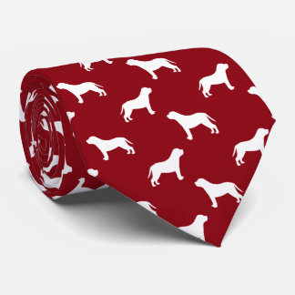Mastiff Silhouettes Pattern Red Tie