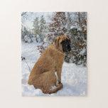 Mastiff Snow Pose - puzzle
