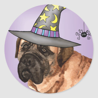 Mastiff Witch Classic Round Sticker