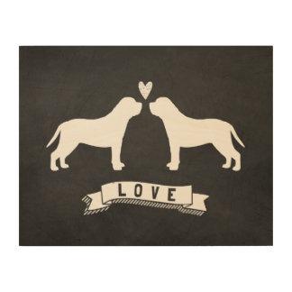 Mastiffs Love - Dog Silhouettes w/ Heart Wood Print