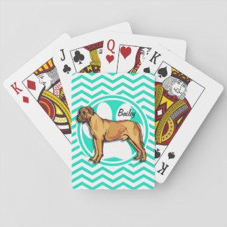 Mastín; Aguamarina Chevron verde Cartas De Póquer