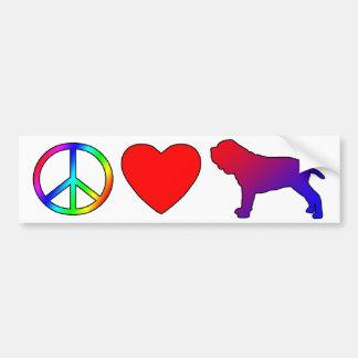 Mastines napolitanos del amor de la paz pegatina de parachoque