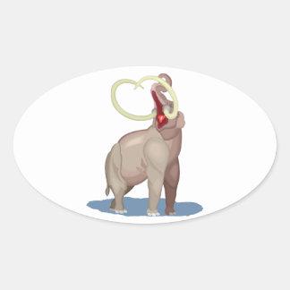 Mastodon Dinosaur Oval Sticker