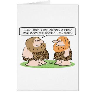 mastodonte muerto ganado del hombre de las caverna tarjeta de felicitación