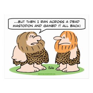 mastodonte muerto ganado del hombre de las tarjetas postales