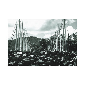 Masts Above The Sea Wall Wrapped Canvas