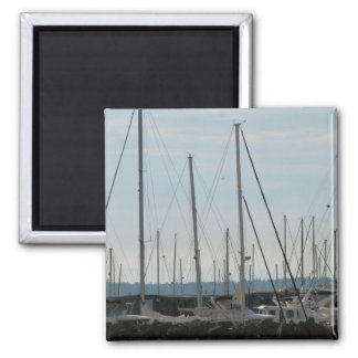 Masts In The Marina 2 Inch Square Magnet