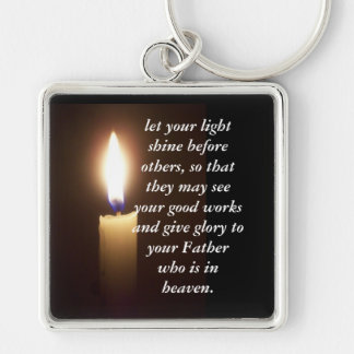 Mat 5:16 Silver-Colored square keychain