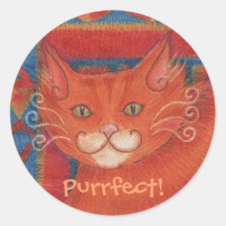 Mat Cats 'Purrfect!' sticker round