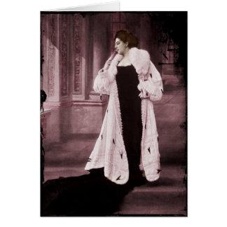 Mata Hari en el abrigo de pieles blanco Tarjeta De Felicitación