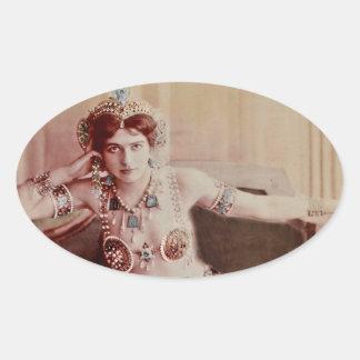 Mata Hari Harem Costume Oval Sticker