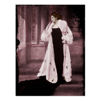 Mata Hari in White Fur Coat Postcard