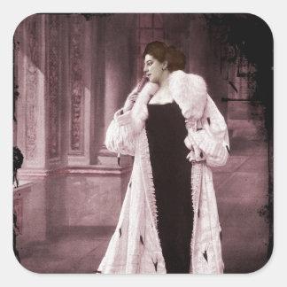 Mata Hari In White Fur Coat Square Sticker