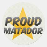 Matador orgulloso pegatina redonda
