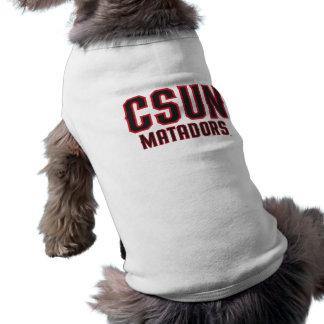 Matadores de CSUN - negro con el esquema rojo Playera Sin Mangas Para Perro