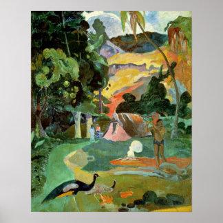 Matamoe o, paisaje con los pavos reales, 1892 poster
