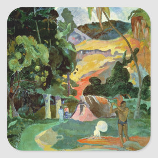 Matamoe o, paisaje con los pavos reales, 1892 pegatina cuadrada