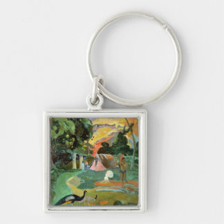 Matamoe or, Landscape with Peacocks, 1892 Silver-Colored Square Keychain
