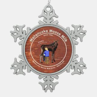 Matanuska Moose Milk Snowflake Pewter Christmas Ornament