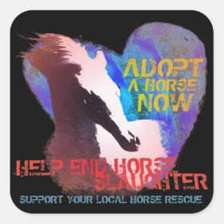 Matanza del caballo de la parada de la ayuda calcomania cuadradas personalizada