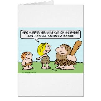 matanza del hombre de las cavernas algo más grande tarjeta de felicitación