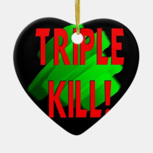 Matanza triple adorno navideño de cerámica en forma de corazón