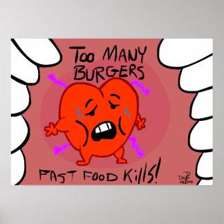 ¡Matanzas de los alimentos de preparación rápida! Póster