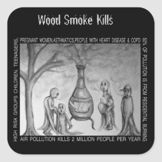 Matanzas de madera del humo pegatina cuadrada