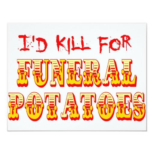 """Mataría para las patatas fúnebres invitación 4.25"""" x 5.5"""""""