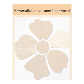 Match Any Color Faux Fabric Collage Flower Letterhead